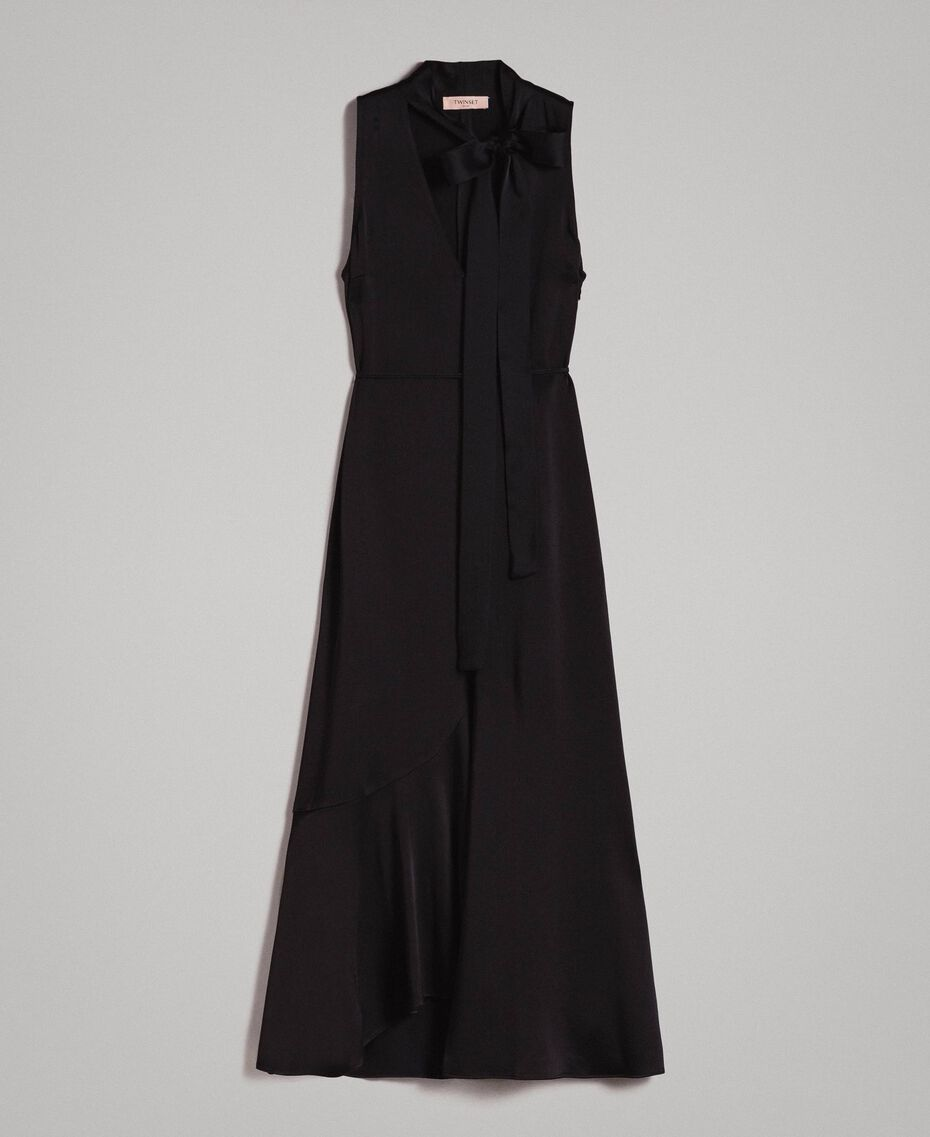 Long dress with bow and slit Black Woman 191TP269A-0S