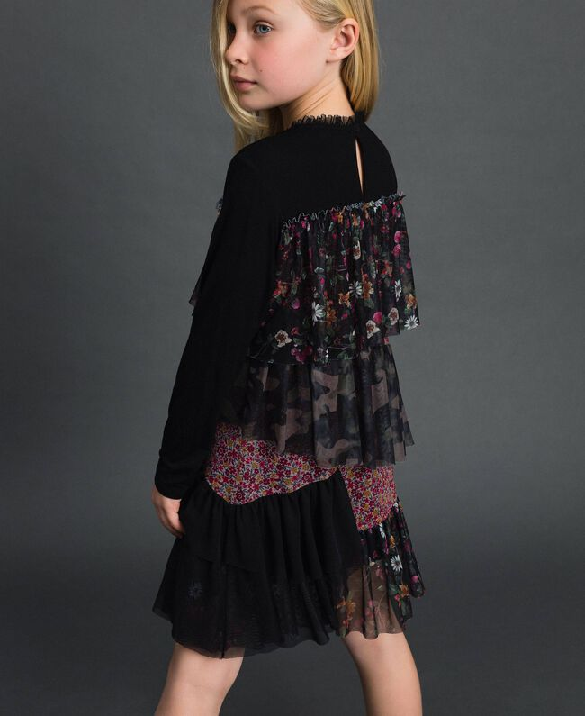Flounce dress with mixed prints Mixed Pattern Print Child 192GJ2500-03