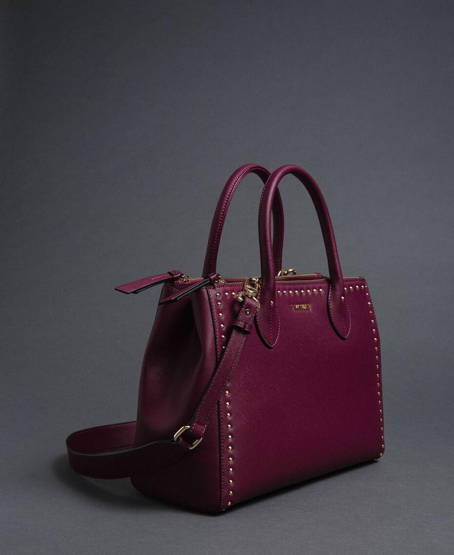 Borsa shopper in similpelle con borchie Rosso Beet Donna 192TA7210-05