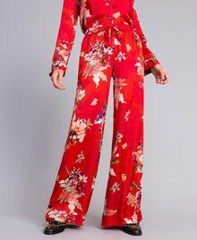 Pantalon palazzo en satin floral Imprimé Jardin Rouge Femme PA829Q-01