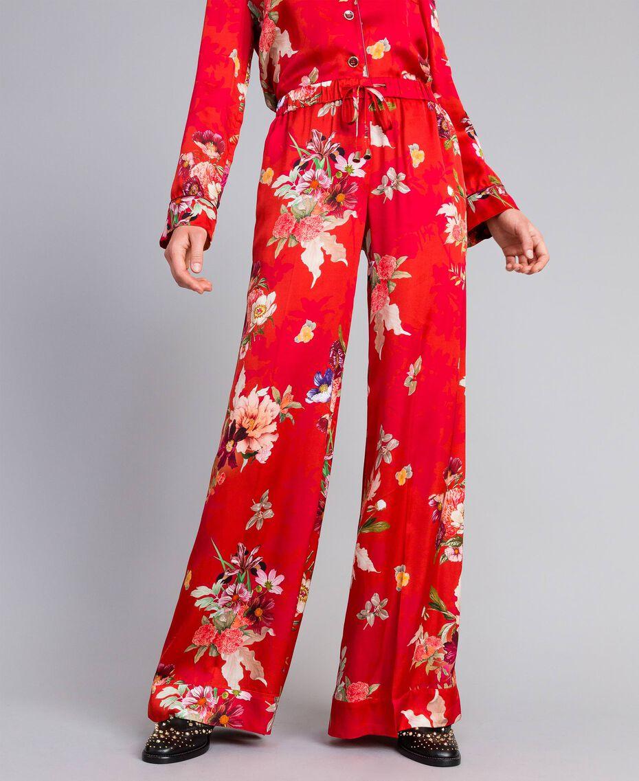 Pantaloni palazzo in raso a fiori Stampa Red Garden Donna PA829Q-01