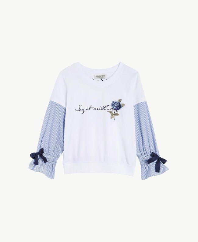 Sweatshirt aus Popeline Jacquard Papyrusweiß / Azur Kind GS82LU-01
