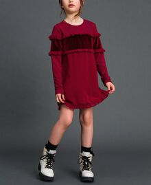 Dress with velvet inlay and frill Ruby Wine Red Child 192GJ2463-01