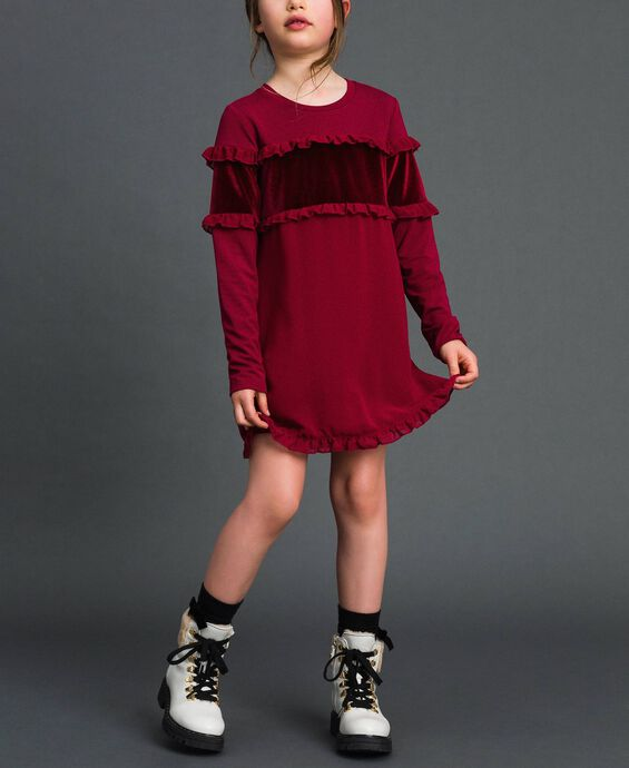Dress with velvet inlay and frill