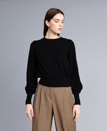 Pullover aus Wolle und Kaschmir mit kastigem Schnitt Schwarz Frau TA83AD-01