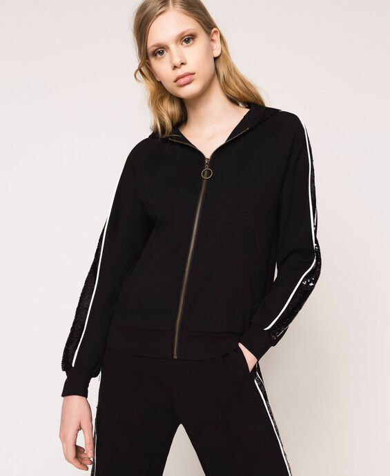 Bomber con bande in paillettes