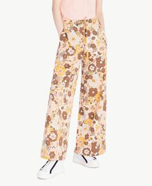"Printed palazzo pants Flat Flower Print ""Rope"" Beige Woman SS82PF-01"
