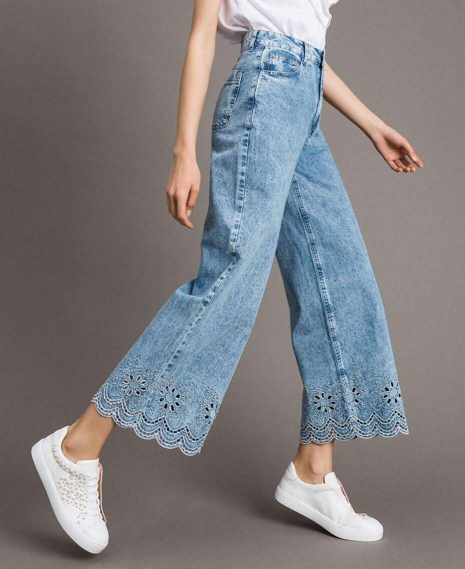 Jeans wide leg con ricamo sangallo Denim Blue Donna 191MP2010-02