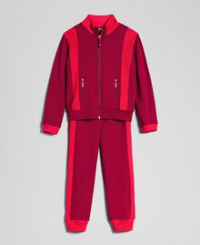 "Colour block sweatshirt with zip and jogging trousers Ruby Wine / ""Candy"" Fuchsia Child 192GJ2240-0S"