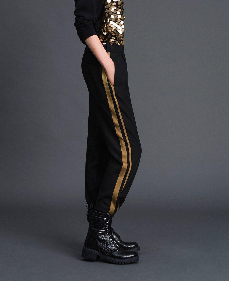 Pantalon cigarette avec bandes contrastées Noir Femme 192ST2201-02