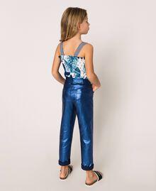 Hose mit schimmernder Beschichtung Irisierender Metallic-Print Nachtblau Kind 201GJ202H-03