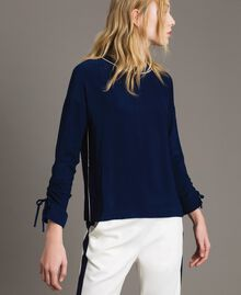 Viscose georgette blouse Midnight Blue Woman 191TP2321-01
