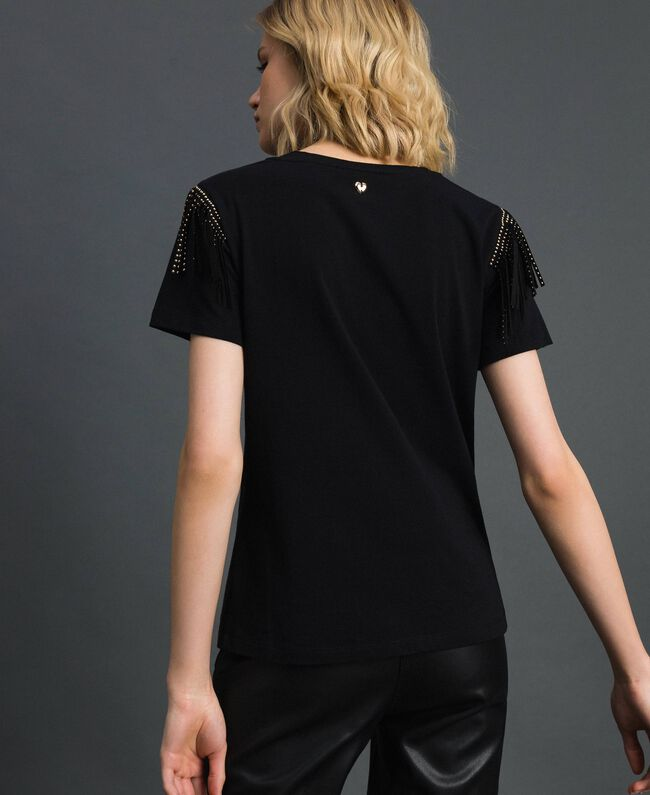 Flocked logo T-shirt with studs and fringes Black Woman 192MP2450-03