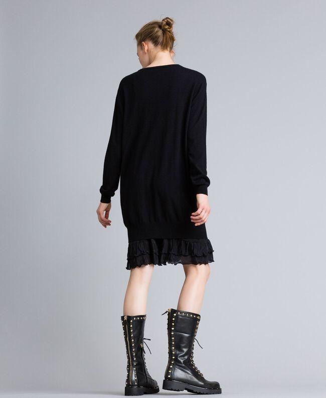 Kleid aus Wolle und Kaschmir mit Unterkleid Schwarz Frau PA83AP-03