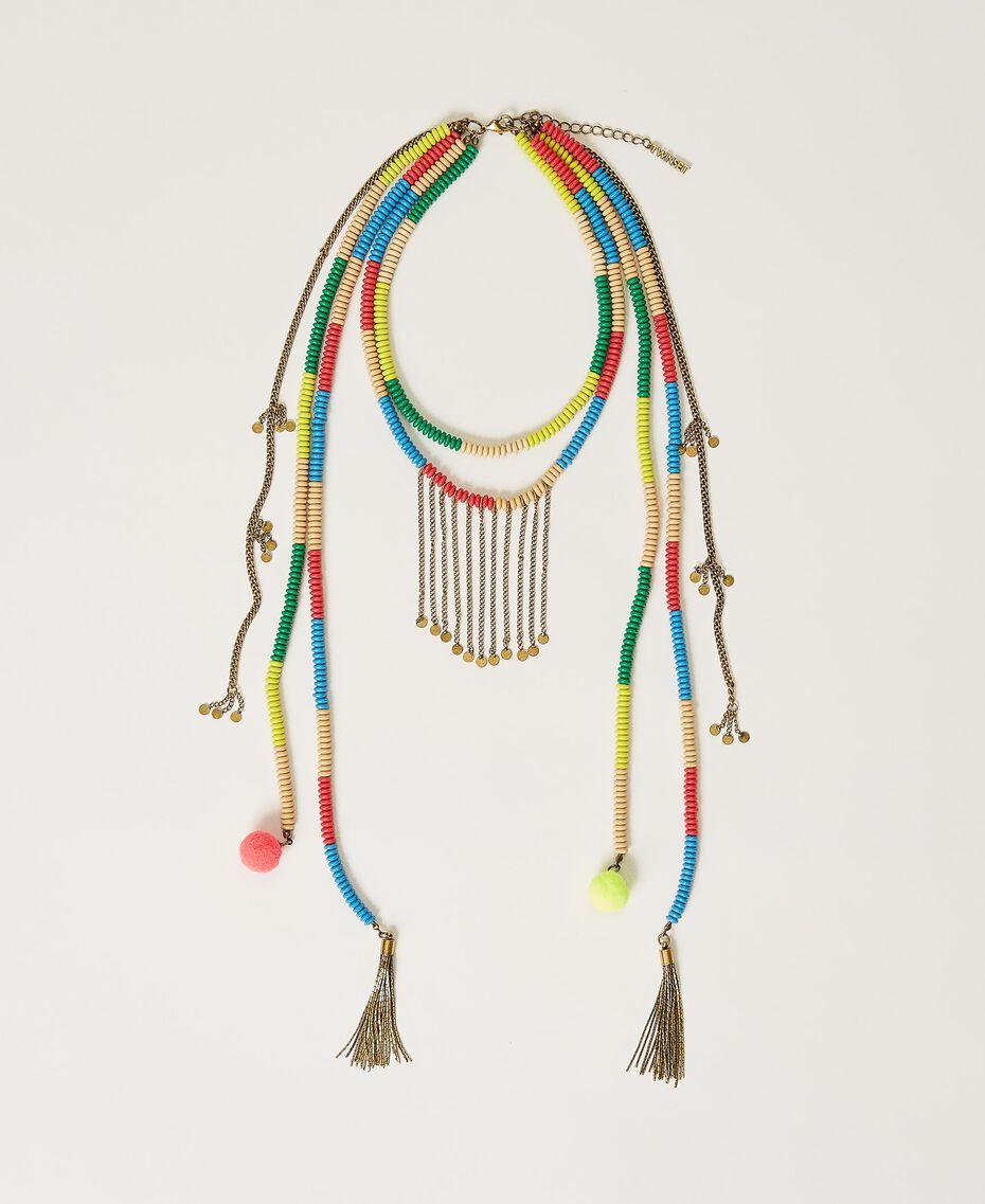 """Collana con perline e frange Multicolor Giallo """"Led"""" / Rosa """"Neon"""" Donna 211TO501F-01"""