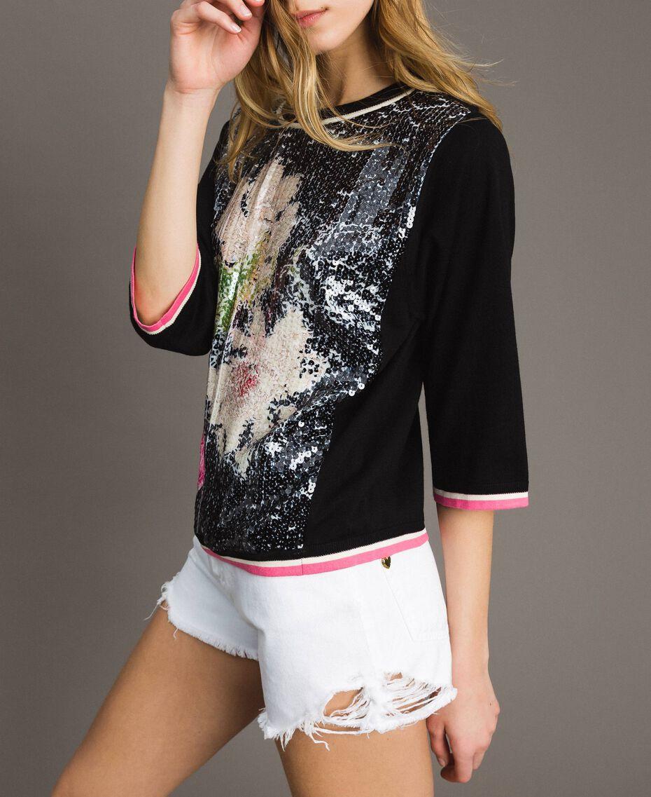 Pailletten-Pullover mit kontrastierenden Verzierungen Multicolour Black / Motiv Schwarze Blumen Frau 191MT3110-02