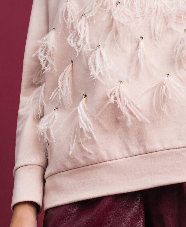 Sweatshirt mit Glassteinen und Federn Blütenknospenrosa Frau 192TT2131-04