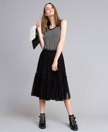 Two-tone striped top with ruches Black / Mother-of-pearl White Stripe Woman JA83BQ-0T