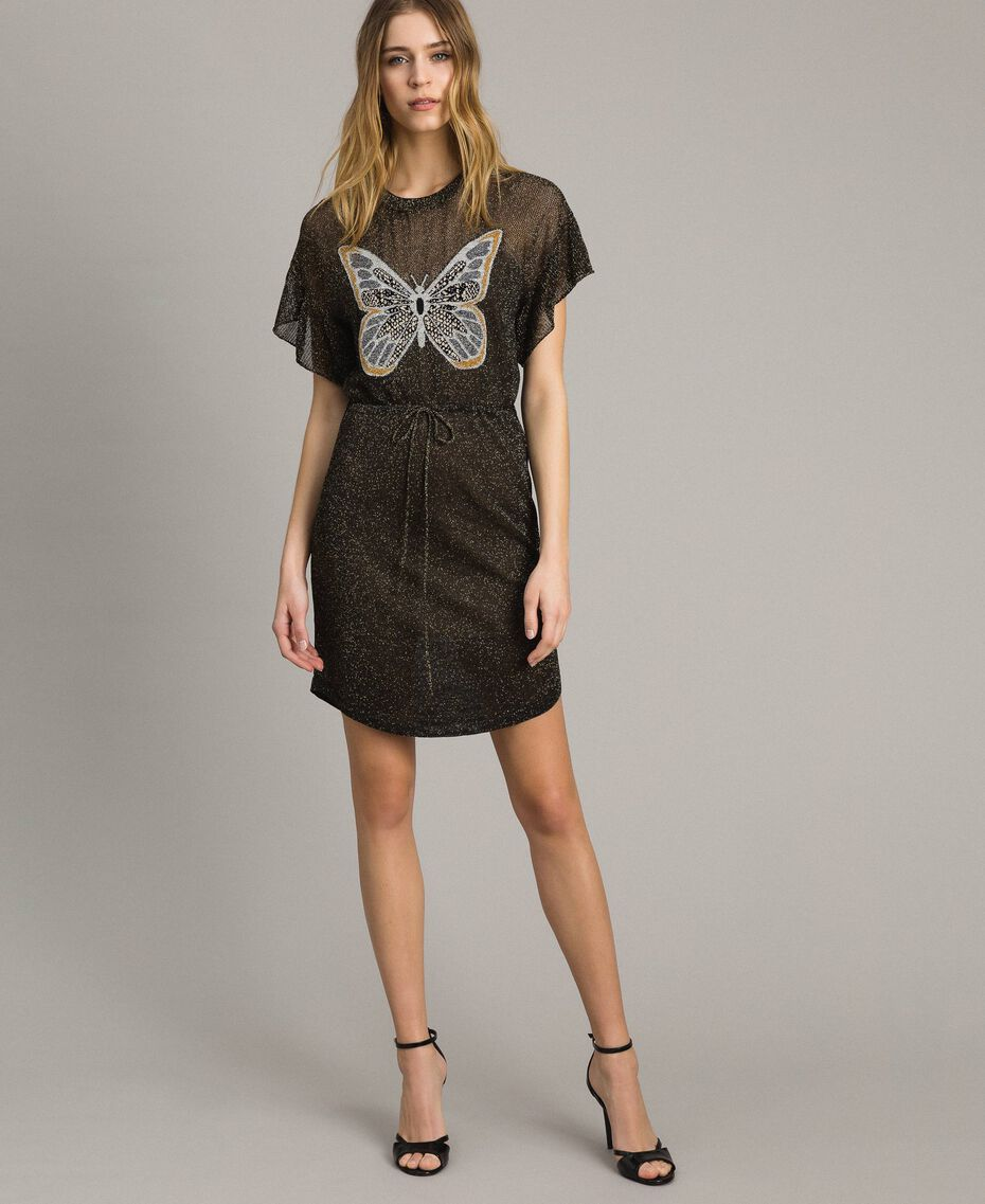 Lurex dress with butterfly Black Lurex Woman 191TT3100-02