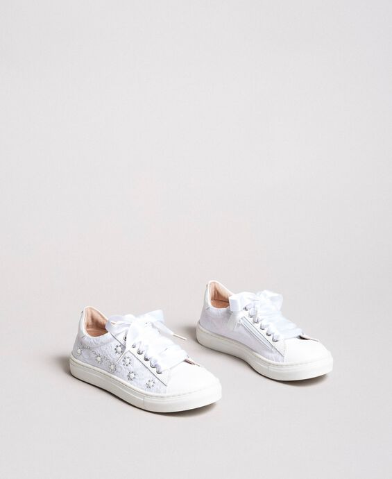 Sneakers with pearls and rhinestones