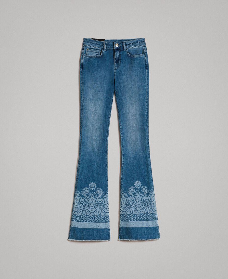 Jeans mit Laser-Muster und Glockenboden Denimblau Frau 191MT2381-0S