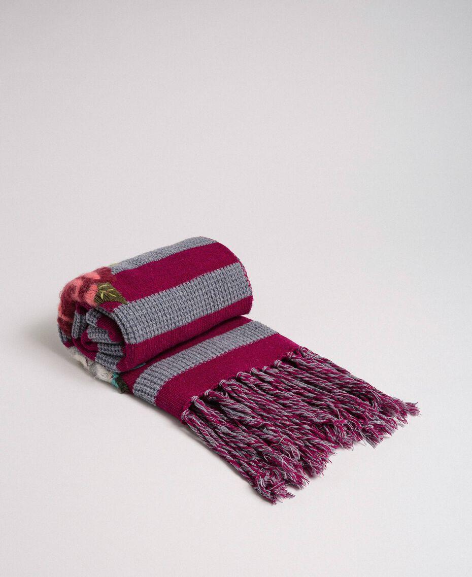 Sciarpa in maglia a righe con ricamo e frange Riga Rosso Beet / Grigio Mélange Donna 192TA441K-02