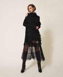 Maxi pull en laine et alpaga avec broderie Noir Femme 202TT3353-02