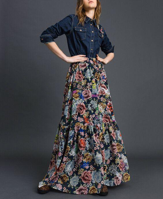 Jupe longue avec imprimé floral et graffiti