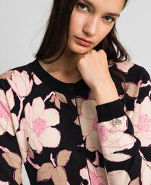 Floral print jumper-cardigan Black Floral Print Woman 192LL3KRR-04