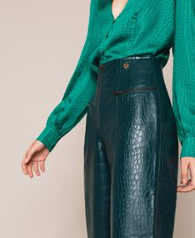 "Crocodile print faux leather trousers ""Forest"" Green Woman 201TP2361-05"