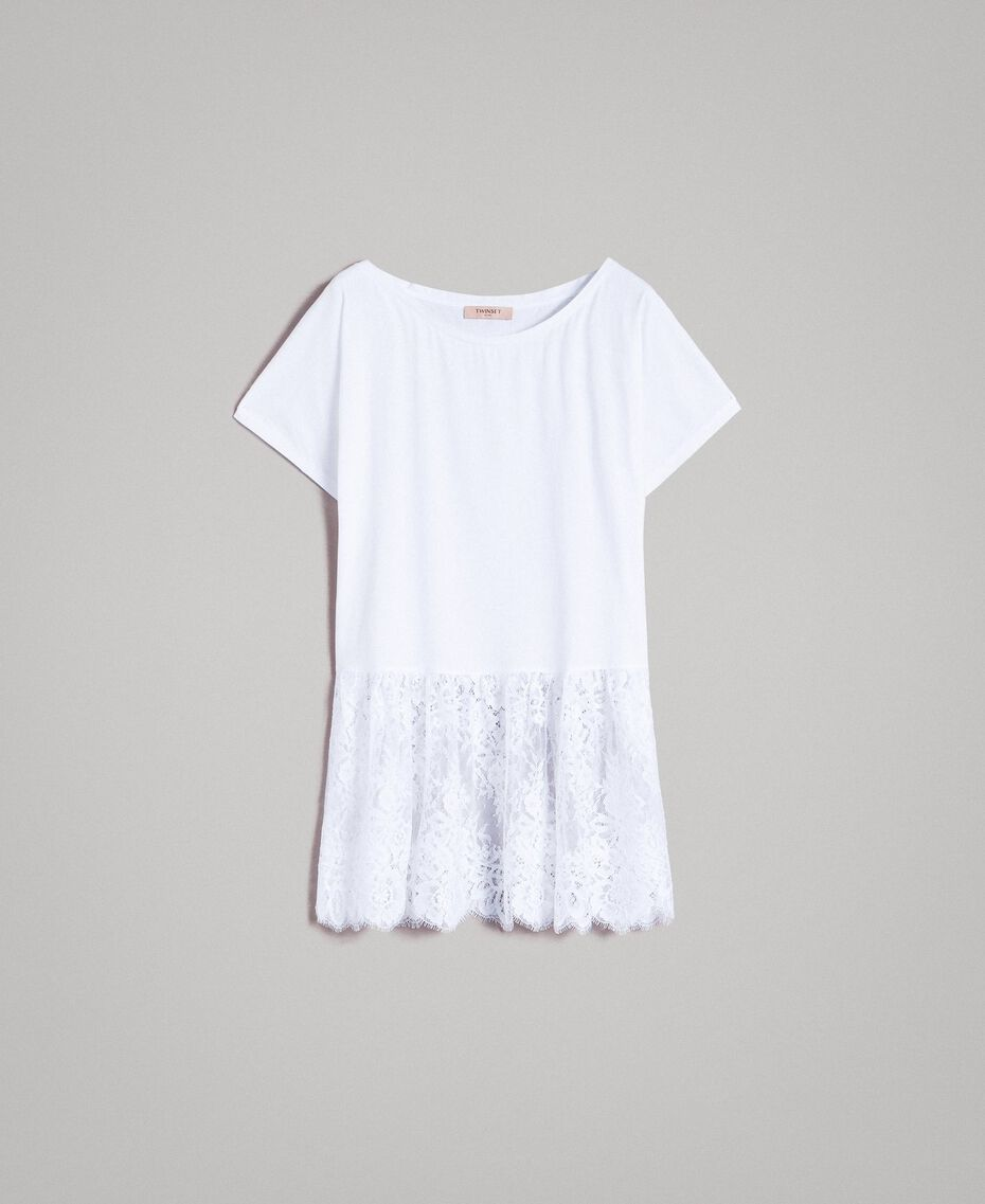 Maxi T-shirt with lace White Woman 191TP260G-0S