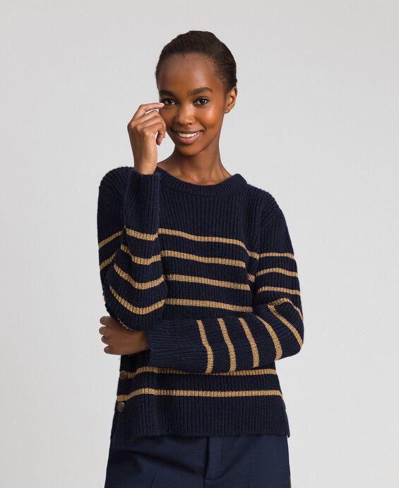 Pull en laine mélangée à rayures lurex
