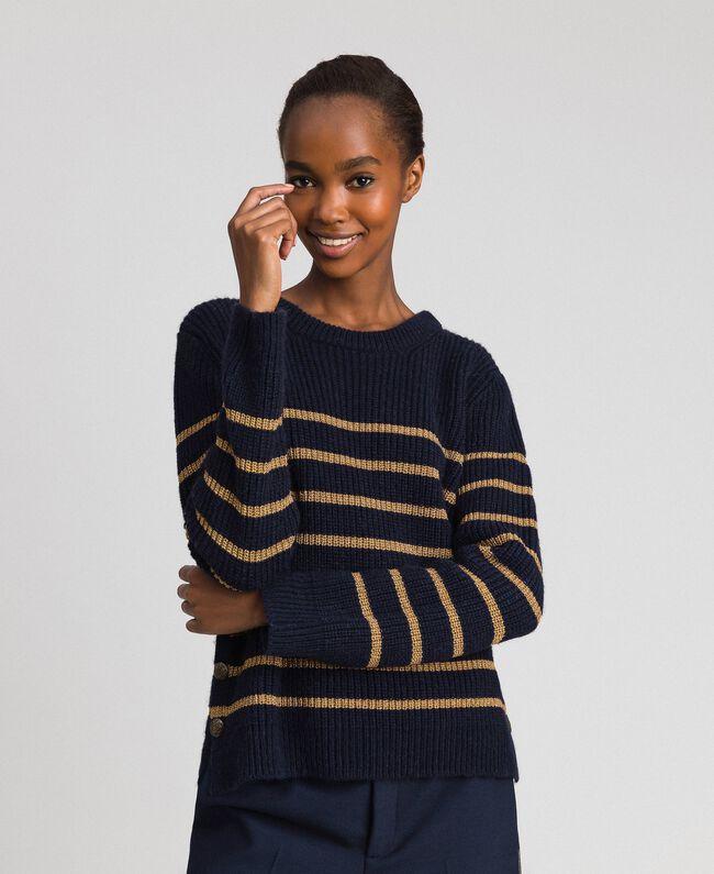 Pullover aus Wollmischung mit Lurexstreifen Streifen Mitternachtblau / Dunkelgold Frau 192TT3360-01