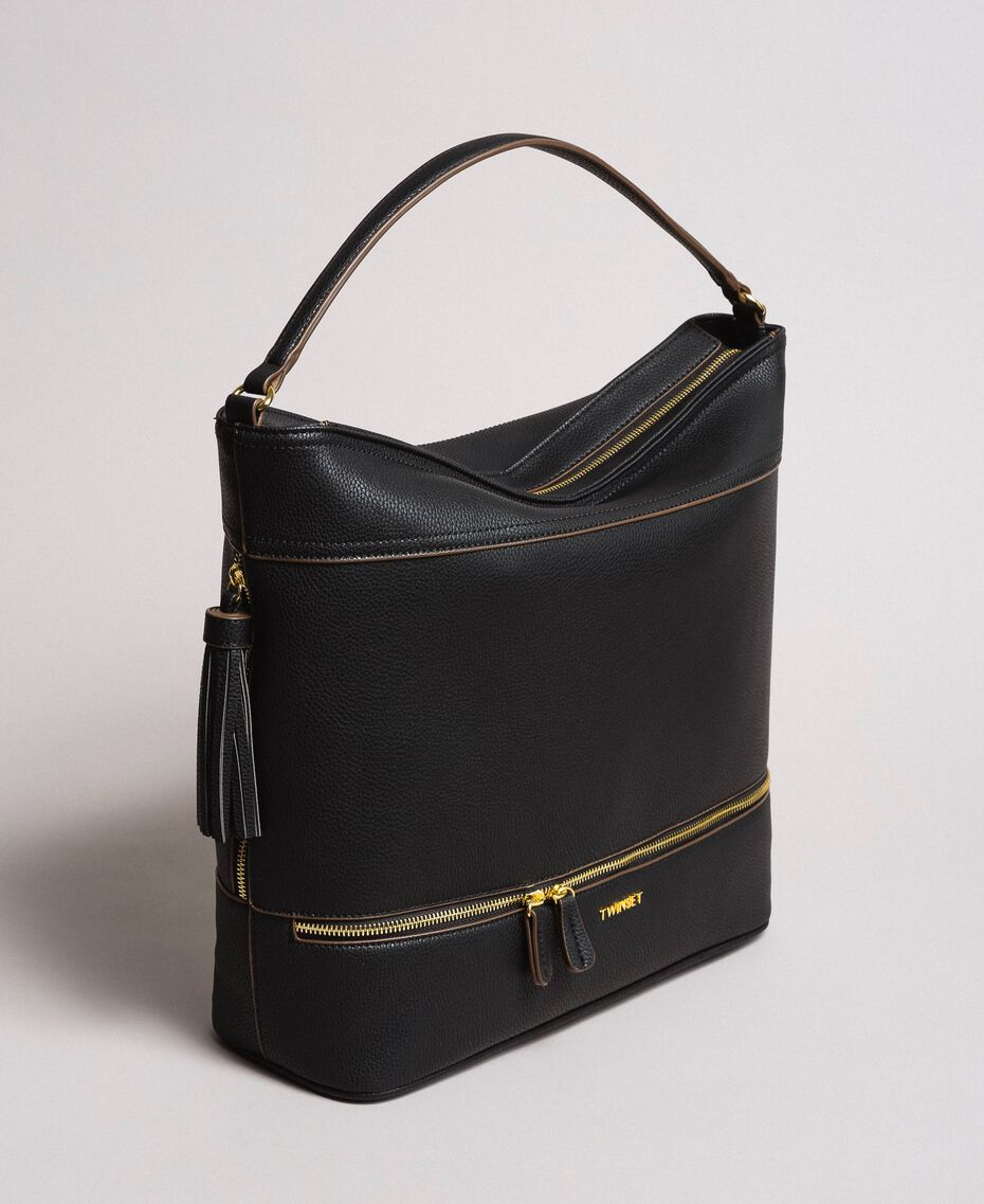 Faux leather hobo bag with tassel Black Woman 191TA7600-03