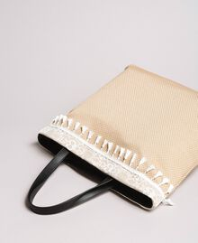 "Beach bag with lace and mini tassels ""Milkway"" Beige Woman 191LB4ZLL-03"