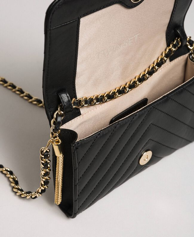 Kleine Umhängetasche aus gestepptem Leder Schwarz Frau 192TA7106-05