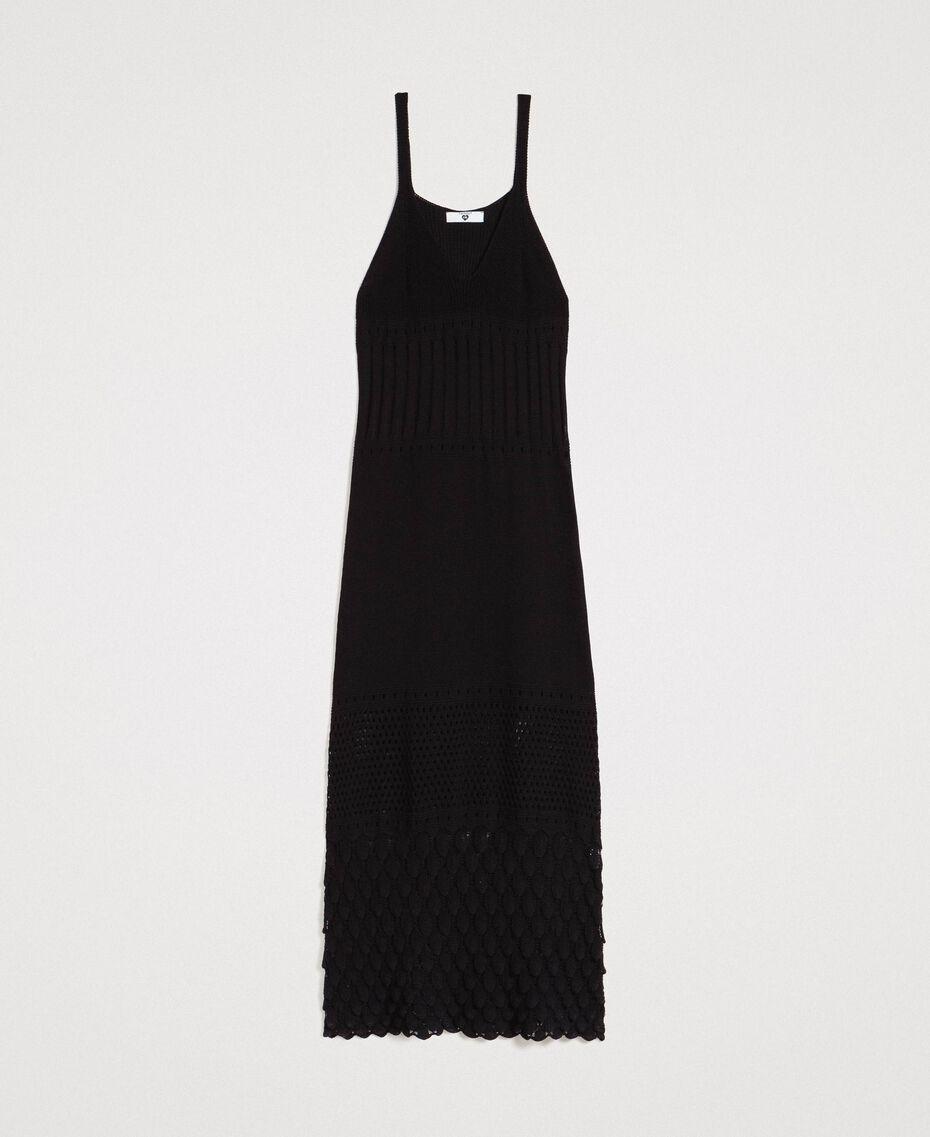 Robe longue en maille ajourée Noir Femme 191LB3GAA-0S