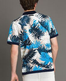 "Crêpe cotton printed polo shirt All Over ""Palms"" Marine Print Man 191UT3061-04"