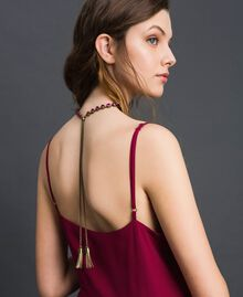 Choker with bezels and tassels Mousse Pink / Beet Red Woman 192TA436C-0T