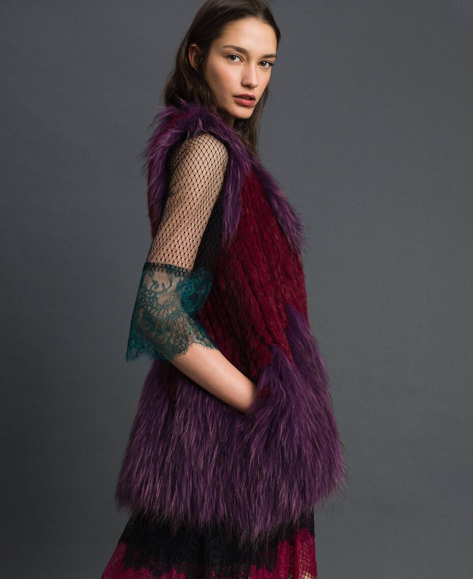 Tricot fur waistcoat Beet Red / Purple Woman 192TP2010-02