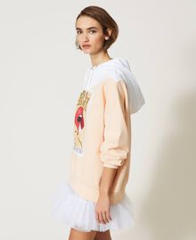 "Colour block maxi hoodie with print Two-tone ""Optical"" White / ""Light Apricot"" Pink Woman 211MT2450-04"
