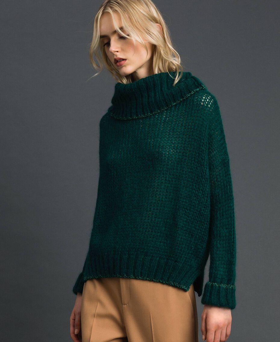 Mohair jumper with lurex stripes Dark Green Woman 192TP3292-02
