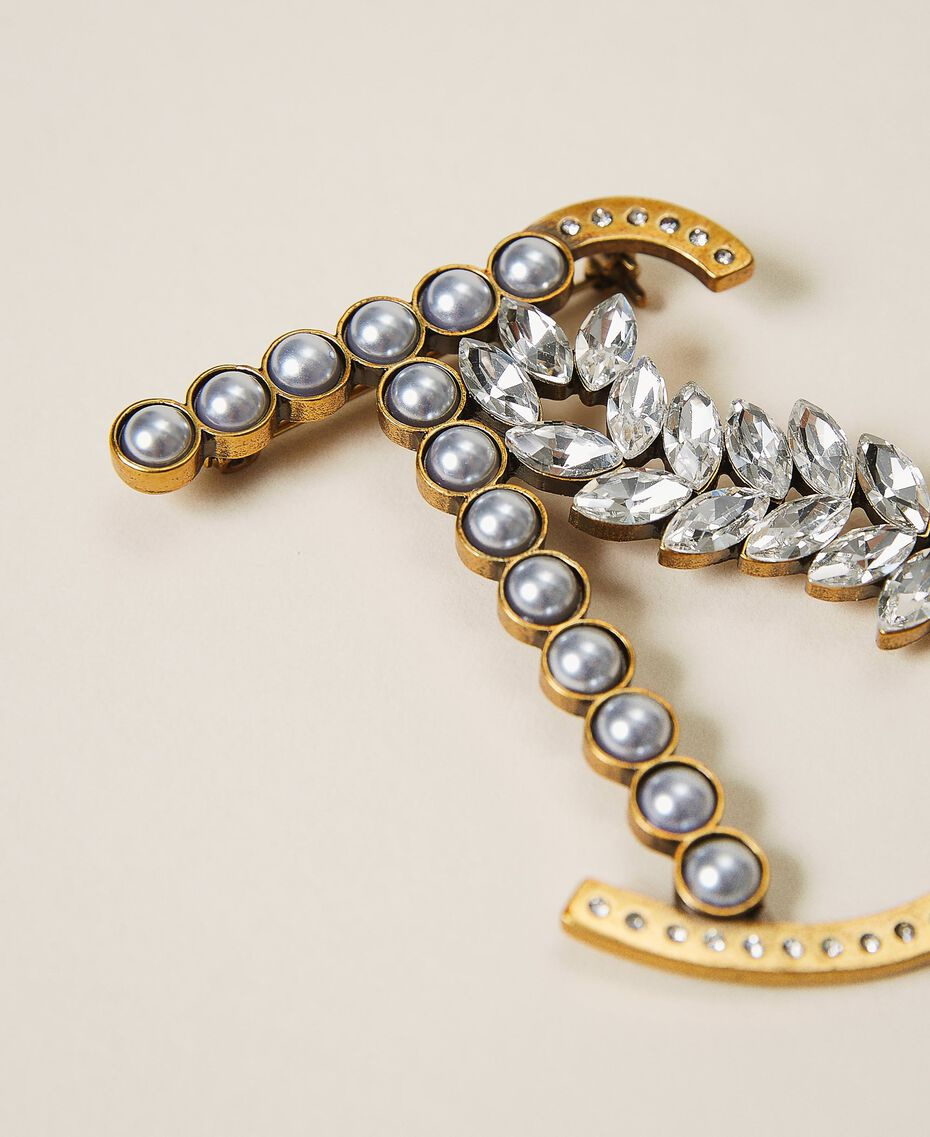 Logo brooch with pearls and rhinestones Two-tone Parchment White / Crystal Silver Woman 202TO5042-02