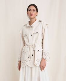 "Canvas jacket with broderie anglaise ""Dune"" Beige Woman 201TP2011-01"
