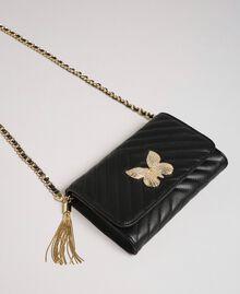 Kleine Umhängetasche aus gestepptem Leder Schwarz Frau 192TA7106-01