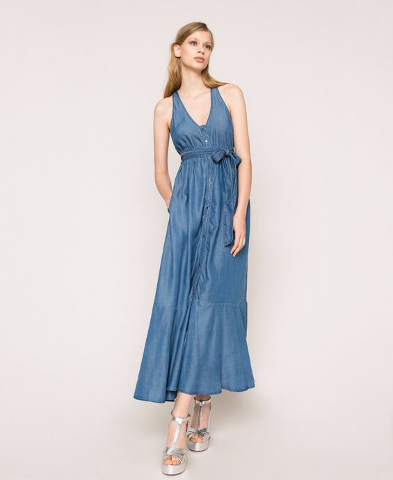 Long flowing denim dress