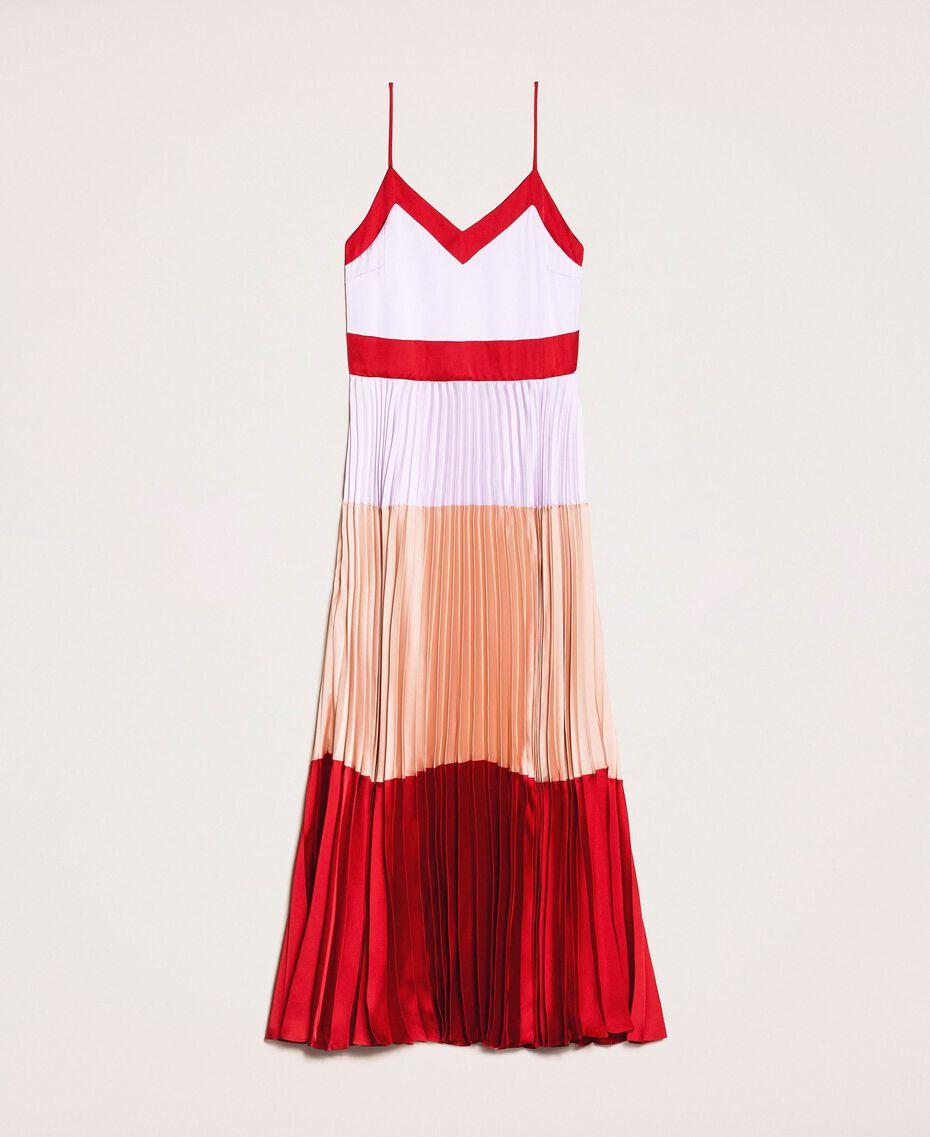 """Длинное платье-комбинация из плиссированного атласа Разноцветный Красный """"Лава"""" / Фиолетовый """"Балерина"""" / Телесный розовый женщина 201TP2310-0S"""