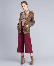 Jacquard lurex cardigan Camel Gold Lurex Jacquard Woman PA835B-0T