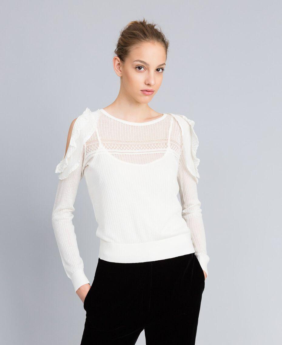 Pullover aus Wollmischung mit Mustermix Weiß Schnee Frau PA83C3-02