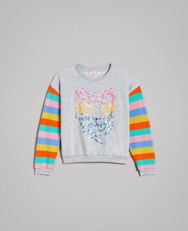 Cotton knitted striped sweatshirt Melange Grey / Multicolour Striping Child 191GJ2451-01